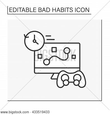 Addiction Line Icon. Uncontrolled Game Playing. Game Online Shooting Games Whole Night.bad Habits Co