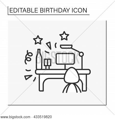 Celebration Line Icon. Birthday Party In Office.workplace. Celebration With Colleagues. Birthday Con
