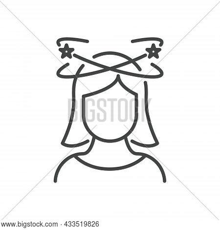 Dizziness, Migraine, Headache, Distracted Head Linear Pictogram. Front View. Woman Feel Dizzy Line I