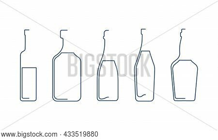 Bottle Continuous Line Vodka, Rum, Champagne, Vermouth, Whiskey And In Linear Style On White Backgro