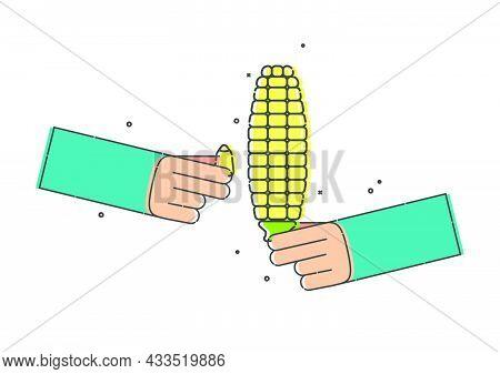 Yellow Corn Cob In Human Hand On White Background. Fingers Keep Corn Grain. Organic Vegetable For Ea