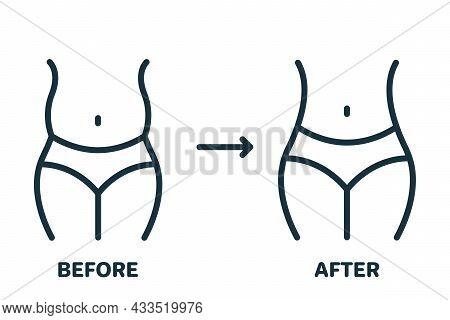 Woman Body Slimming Line Icon. Female Loss Weight Linear Pictogram. Slimming Waist. Shape Waistline