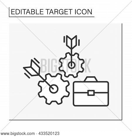 Goals Line Icon. Targeted Job Search. Direct Hit Into Bull Eye. Target Concept. Isolated Vector Illu