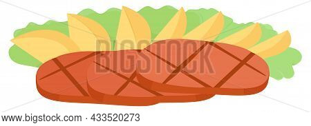 Grilled Beef With Fried Potato. Chopped Meat With Garnish On Green Salad Isolated On White. Vector C