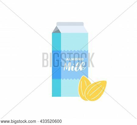 Almond Milk Cardboard Box. Vegetarian Lactose Free Drink Package. Healthy Vegan Nut Eco Dairy Bevera