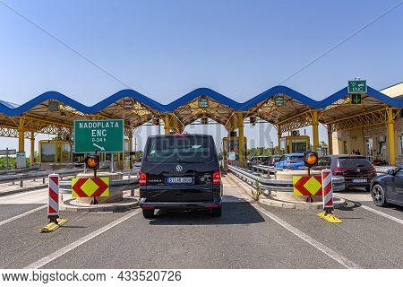 Zadar, Croatia - July 29, 2021: Highway Toll Gate In Zadar, Croatia.