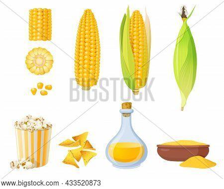 Ear Of Corn In Leaves, Corn Grits Polenta, Corn Oil And Popcorn. Cartoon Corn Food Elements. Vector