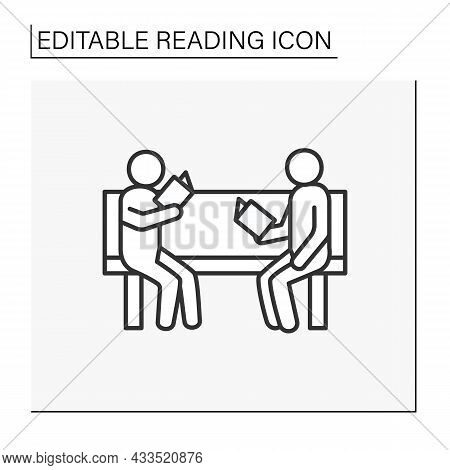 Leisure Time Line Icon. Two Man Sitting On A Bench And Reading Books. Fun Time. Discussion, Exchangi