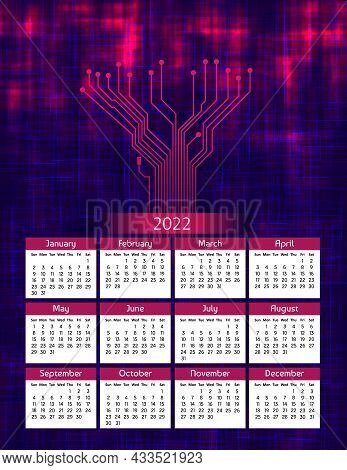 Vertical Futuristic Yearly Calendar 2022 With Pcb Tracks, Week Starts On Sunday. Annual Big Wall Cal