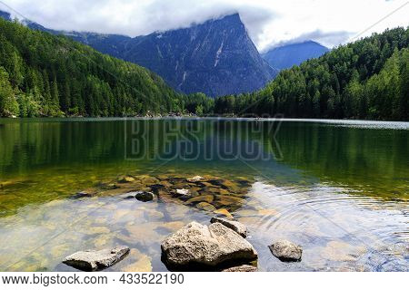 Landscape Protection Area Achsturze Lake Piburger See And Alps In The Background Tirol Oldest Nature