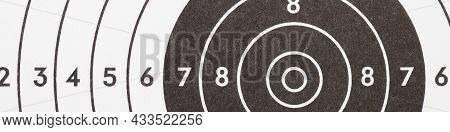 Target For Shooting. Black And White Banner Or Headline On The Subject Of Shooting Sports. Fragment