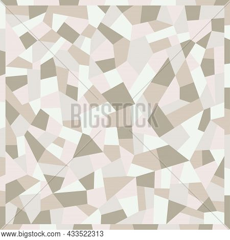 Mosaic Floors Of Marble Chips. Floors Terrazzo, Polymer Mosaic Pattern In White Colors. Abstract Bac