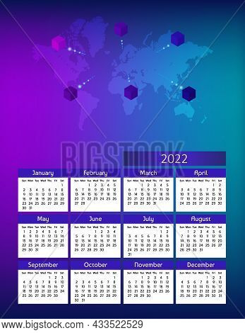 Vertical Futuristic Yearly Calendar 2022 With World Map And Cubes, Week Starts On Sunday. Annual Big