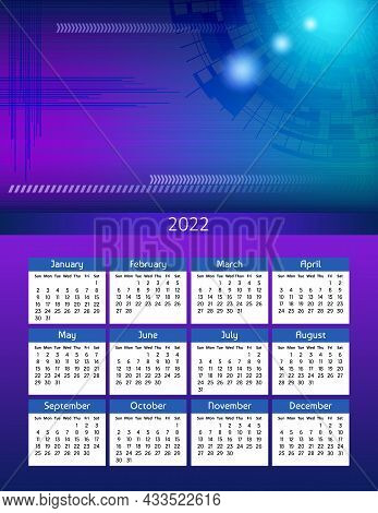 Vertical Futuristic Yearly Calendar 2022 Abstract Digital Theme, Week Starts On Sunday. Annual Big W