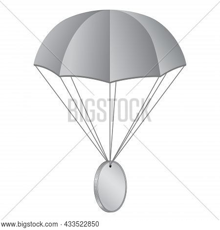 Airdrop Concept Parachute With Coin Isolated On White. Blank Gray Coin With Copy Space For Logo Or S