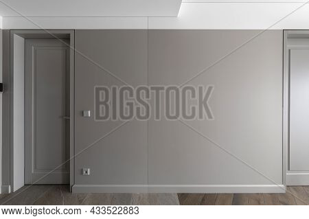 Simple Modern Grey Closed Door With Frame On Grey Wall With Grey Light Switch And Grey Socket  In Th
