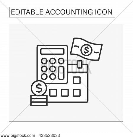 Schedule Line Icon. Monthly Payments. Money-saving. Calculating Costs. Summarizing, Analyzing And Re
