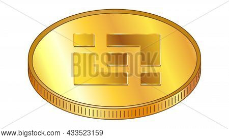 Gold Coin Binance Coin Bnb In Isometric Top View Isolated On White. Vector Design Element.