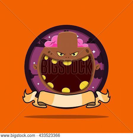 Vintage Monster Head Circle Label With Brown Zombie Design. Vector And Illustration