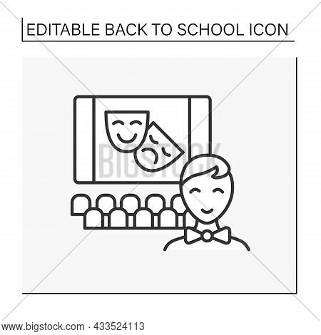After-school Activity Line Icon. Theatrical Group For Students. Acting Skills. Education Concept. Is