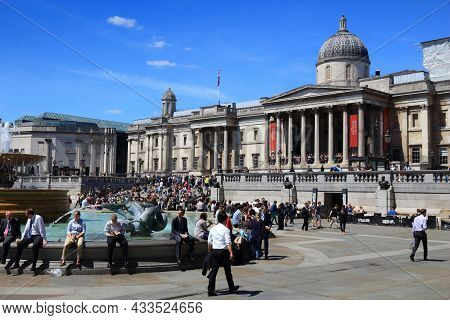 London, Uk - July 6, 2016: People Visit Trafalgar Square In London. The Square Is A Part Of The City