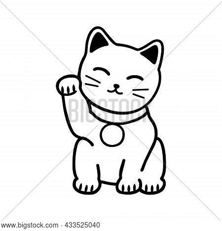Japanese Cat Maneki Neko. Symbol Of Good Luck And Fortune. Doodle Style Vector Illustration