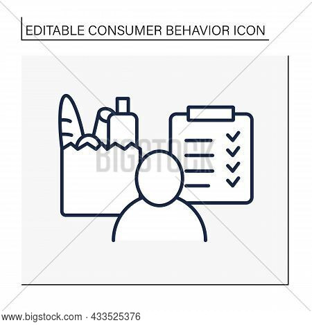 Shopping List Line Icon. Person With Detailed List Of Products. Grocery. Ready-made Food. Customer B