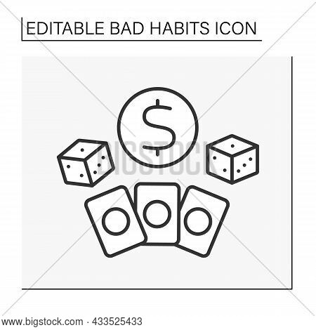 Addiction Line Icon. Compulsive Gambling. Uncontrollable Urge To Keep Gambling. Casino Jackpot, Play