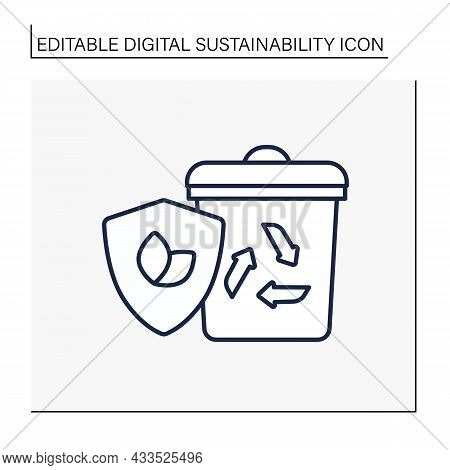 Recycling Line Icon. Eco Friendly Disposal. Waste Utilization. Protect The Environment. Ecology. Dig