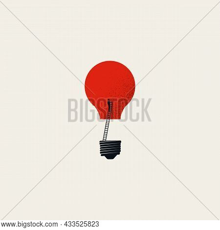 Business Creativity And Inspiration Vector Concept. Symbol Of Searching For Idea, Imagination. Minim