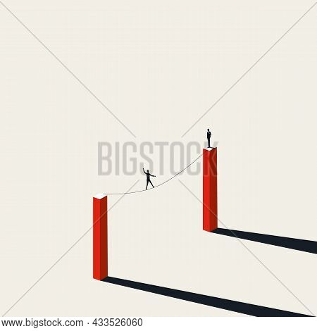 Business Risk, Danger And Challenge Vector Concept. Symbol Of Tightrope, Balance, Courage. Minimal I