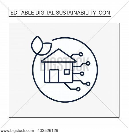 Smart Life Line Icon. Eco Friendly Lifestyle. Modernized House For Comfort Living. Protect The Envir