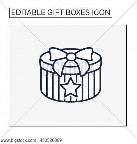 Present Line Icon. Gift Box With Star Shape. Birthday Congratulation, Surprise In Box. Celebration.