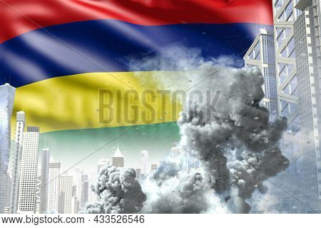 Big Smoke Pillar In Abstract City - Concept Of Industrial Explosion Or Act Of Terror On Mauritius Fl