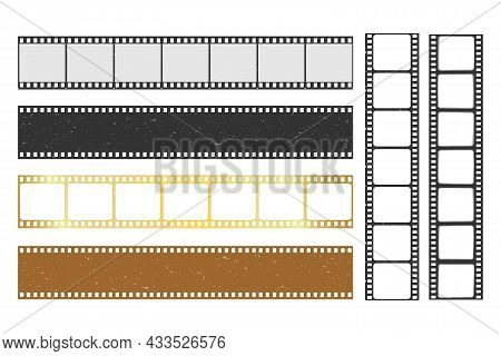 Set Of Vector Retro 35mm Foto And Movie Film Strips. Realistic Old Celluloid Frames Of Cinema Film S