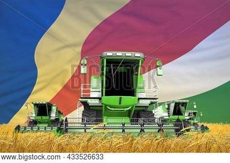 Four Light Green Combine Harvesters On Grain Field With Flag Background, Seychelles Agriculture Conc
