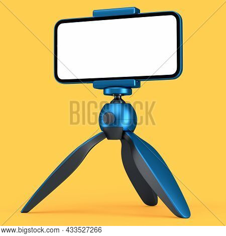 Realistic Smartphone With Blank White Screen On Blue Tripod Isolated On Orange