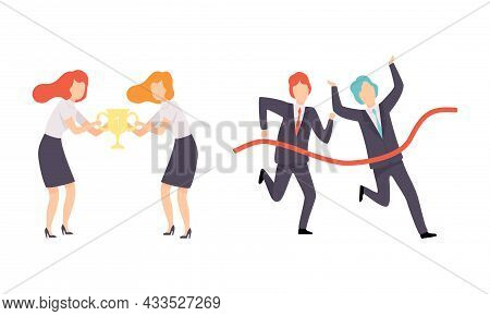 Business And Career Competition With Man And Woman Office Worker Having Rivalry Running Marathon And