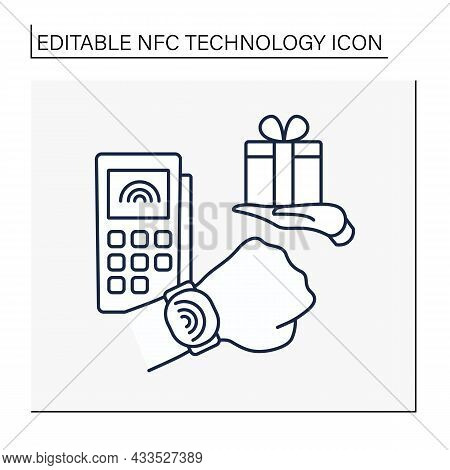 Nfc Technology Line Icon. Contactless Payment By Bracelet. Shopping. Buying Gifts And Presents.conta