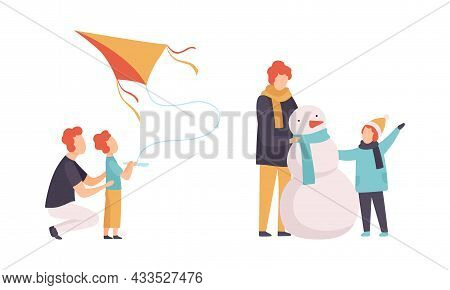 Man Parent And His Son Spending Good Time Together Building Snowman And Flying Kite Vector Set