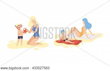 Young Woman Parent At Beach Scene With Her Kid Sunbathing On Blanket And Snorkeling Vector Set