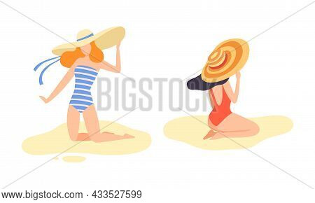 Young Woman In Swimsuit And Wide Brimmed Hat At Sea Shore Sunbathing Vector Set