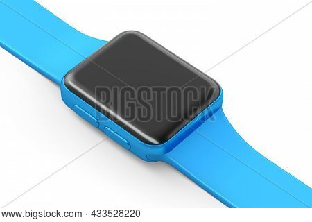 Stainless Silver Smart Watch Or Fitness Tracker Isolated On White Background.