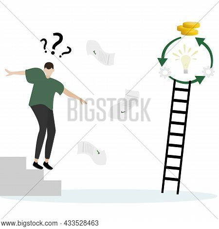 Vector Illustration Of A Cartoon Character Of A Businessman Running Down The Stairs, Documents Are S