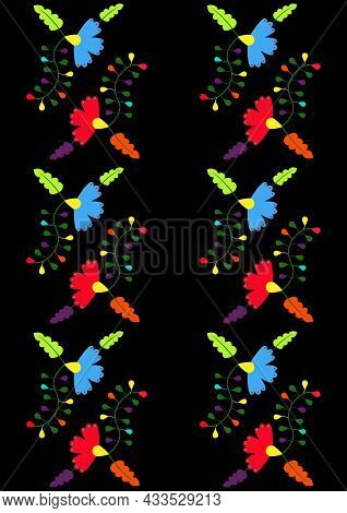 Ethnic Floral Seamless Pattern On Black Background. Mexican Traditional Otomi Embroidery Style. For