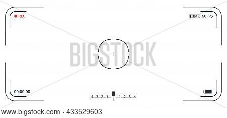 Video Camera Viewfinder On White Background. Concept Graphic Element Screen Photo Frame. Focusing Sc