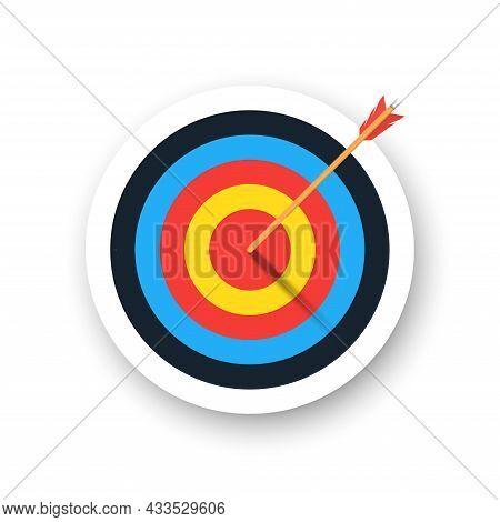 Colorful Archery Target With Arrow And Shadow. Template Design For Competition Winning, Goal Achieve