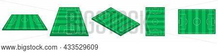 Football Fields Set. Isometric, Perspective, Side, Top View. Green Grass Soccer Field. Template Desi