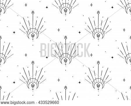 Abstract Background Seamless Pattern. Moon And Sun