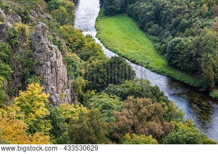 Viewpoint Over Valley Of River Called Jihlava And Surrounding Forests In Beginning Of Autumn - Czech